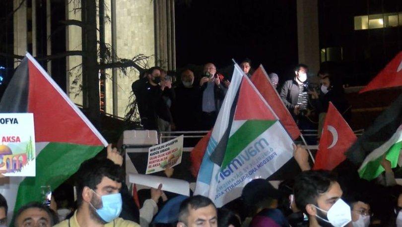 İsrail'in Mescid-i Aksa saldırıları İstanbul'da protesto edildi