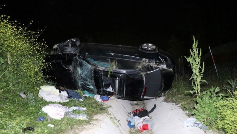 Kuzey Marmara Otoyolu'nda domuza çarpan otomobil devrildi: 1'i ağır 6 yaralı