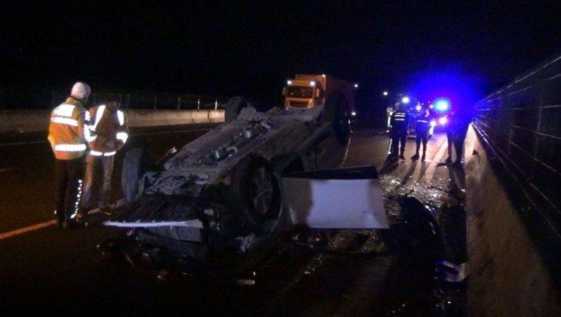 Silivri'de beton bariyere çarpan otomobil takla attı: 1 ölü