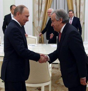 Rusya Devlet Başkanı Vladimir Putin, Birleşmiş Milletler (BM) Genel Sekreteri Antonio Guterres ile Filistin meselesini görüştü
