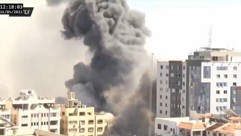 13 KATLI BİNA VURULDU! Son dakika: Gazze'de medya kuruluşlarının ofislerinin bulunduğu bina çöktü!