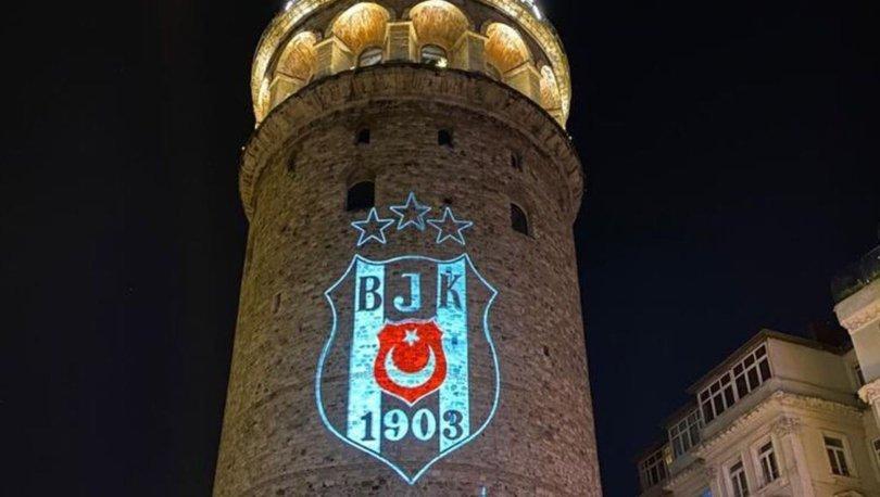 Tarihi Galata Kulesi'ne Beşiktaş arması yansıtıldı
