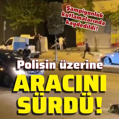 Kutlamada polisin üzerine aracını sürdü!