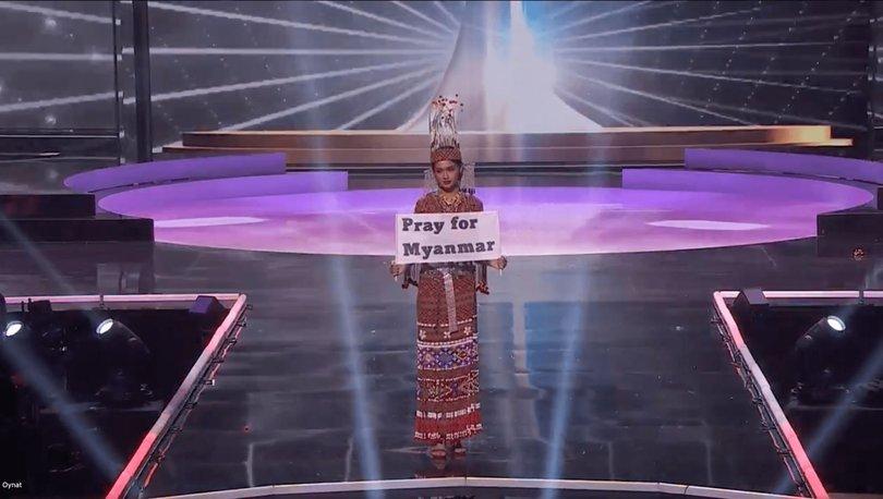 Kâinat Güzellik Yarışması'nda Myanmarlı yarışmacıdan videolu mesaj: ''Halkımız ölüyor.''