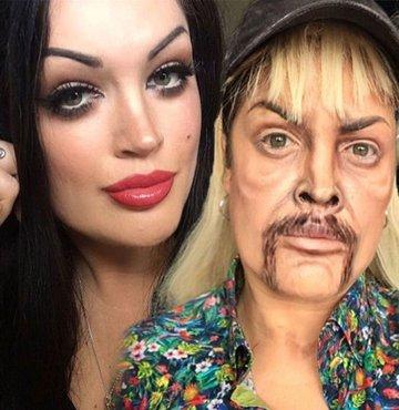 Sosyal medya hesaplarından paylaşılan ilginç makyajlar ilgi görmeye devam ediyor... Sadece makyaj ve saçla kendini istediği herkese benzetebilen bir isim deNatalie Costello... İrlandalı makyaj sanatçısı, yeteneği sayesindekimi zaman Angelina Jolie, kimi zaman daRambo olabiliyor