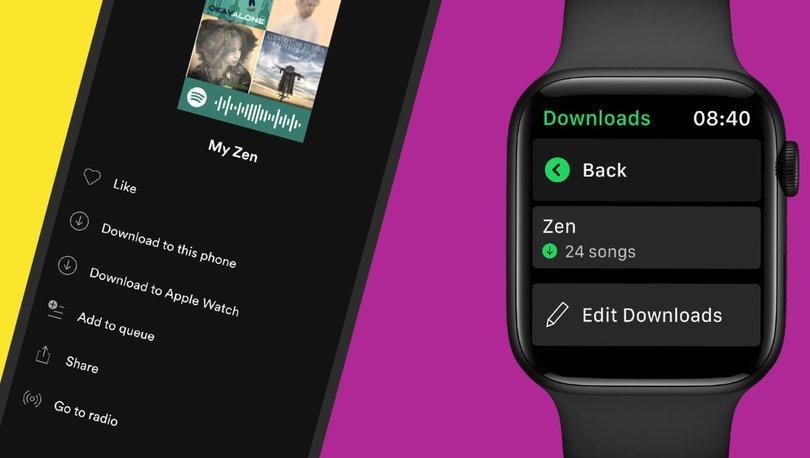 Spotify, Apple Watch'a 'İndir' özelliği ekledi - Haberler