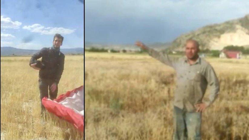 Kanadalı paraşütçü zorunlu iniş yaptı, çiftçi güldürdü