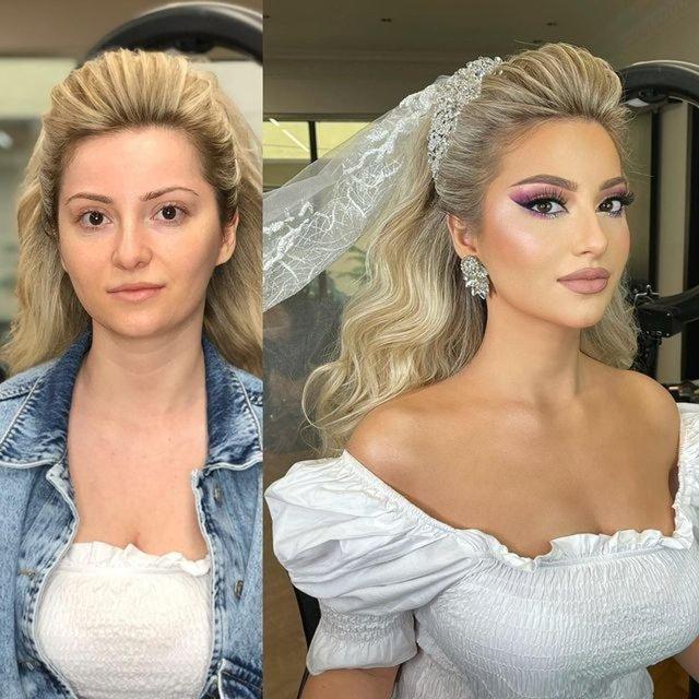 Damatları bile şaşkına çevirecek değişim! Gelin makyajlarına sosyal medyada ilgi - Haberler