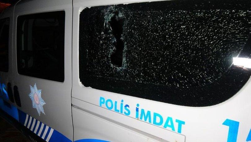 Edirne'de, silahlı kavga ihbarına giden polis aracına 'kiremitli' saldırı