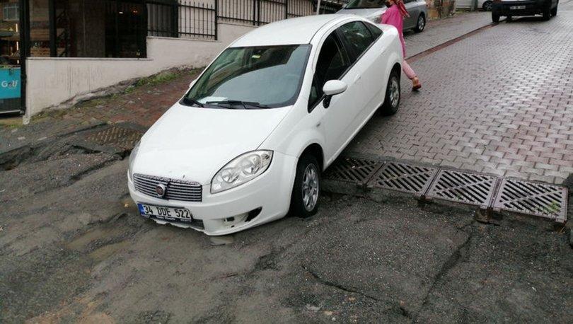 Ataşehir'de şiddetli yağış yolda çökmeye neden oldu