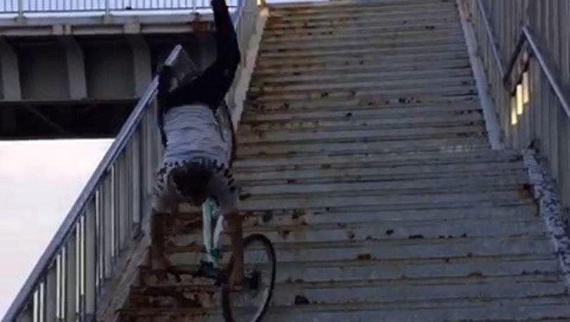 TikTok uğruna! Son dakika: Bisikletle merdiven şovu kötü bitti