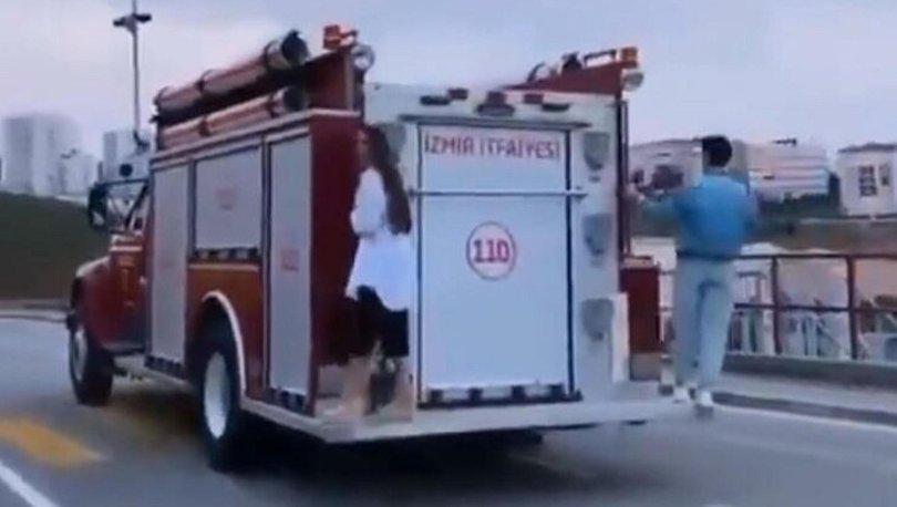SON DAKİKA: İtfaiye aracında tepki çeken görüntü! - VİDEO