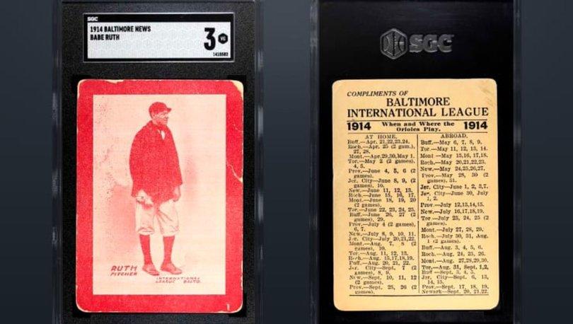 Babe Ruth'un oyuncu kartı yaklaşık 6 milyon dolarlık rekor ücretle satıldı