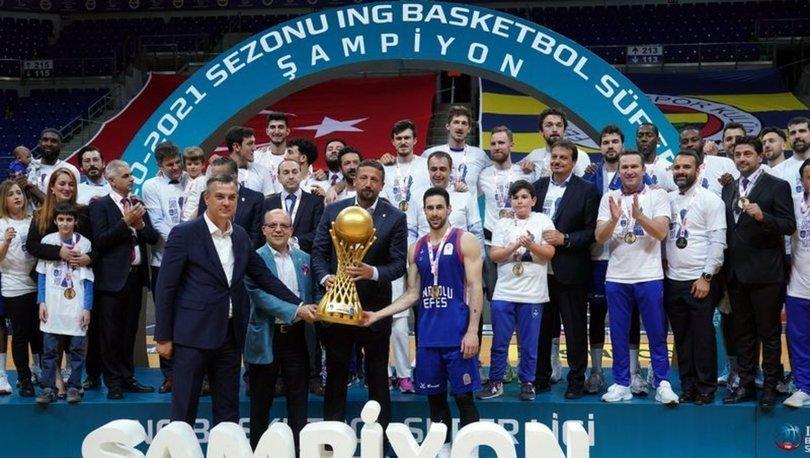 Cumhurbaşkanı Erdoğan, ING Basketbol Süper Ligi'nde şampiyon olan Anadolu Efes'i kutladı