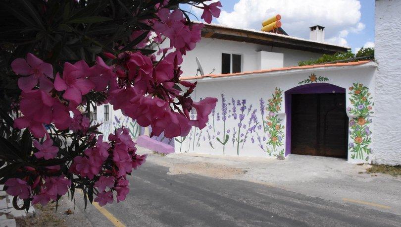Evlerin duvarları lavanta figürleriyle süslenen mahalle