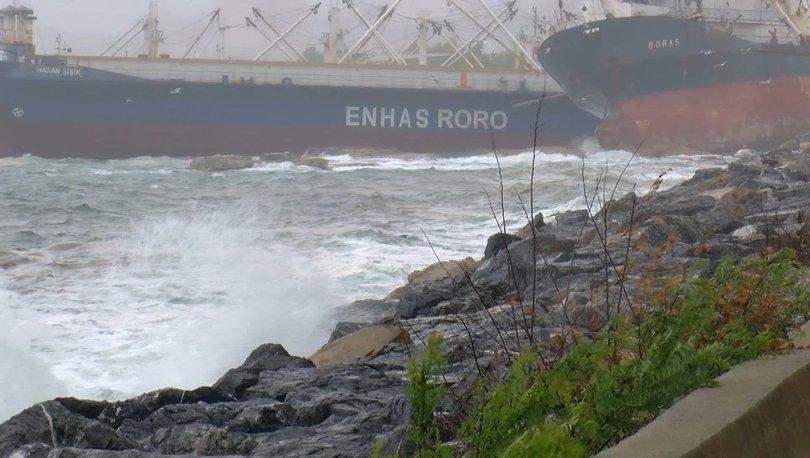 Halatı kopan gemi kıyıya sürüklendi - Haberler