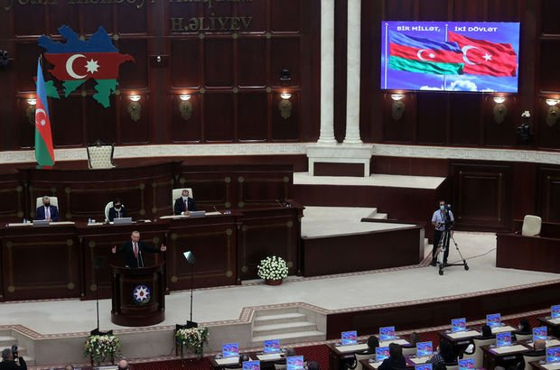 Cumhurbaşkanı Erdoğan Azerbaycan Milli Meclisi'nde!