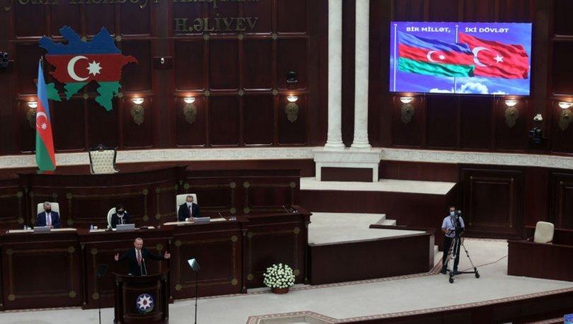 Erdoğan Azerbaycan Milli Meclisi'nde SON DAKİKA mesaj: Gereken adımları atacağız