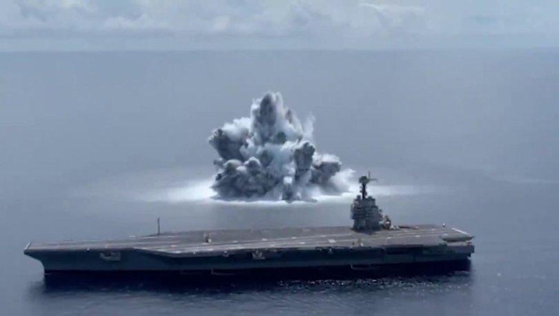 SON DAKİKA: ABD Donanması, uçak gemisinin dayanıklılığını ölçmek için 18 tonun üzerinde patlayıcı kullandı