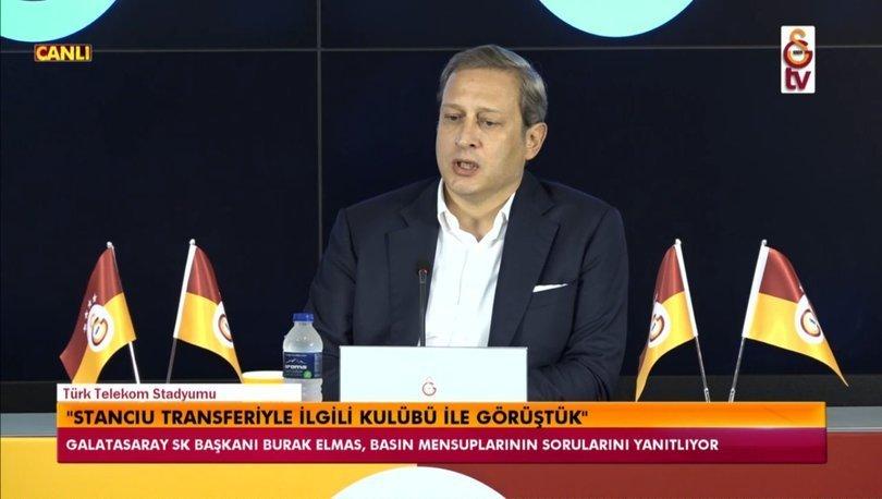 Galatasaray Başkanı Burak Elmas açıklamalar yapıyor