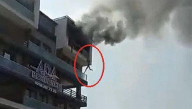 SON DAKİKA! Feci görüntüler! Denizli'deki yangında alt kata sarkarak kurtuldu! - HABERLER