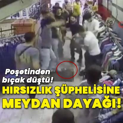 Hırsızlık şüphelisine meydan dayağı! Poşetinden bıçak düştü
