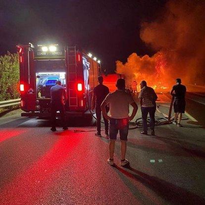 İzmir'de feci ölüm! Kaza yaptıktan sonra yanan TIR'ın sürücüsü kurtarılamadı