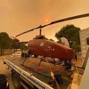 İnsansız helikopter, Manavgat'taki büyük yangında kullanıldı
