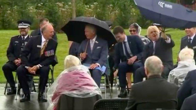 SON DAKİKA: İngiltere Başbakanı Boris Johnson'ın zor anları: Şemsiyeyle sınav!