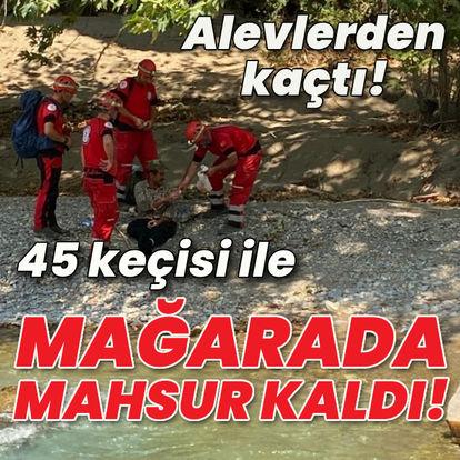 45 keçisi ile mağarada mahsur kaldı!