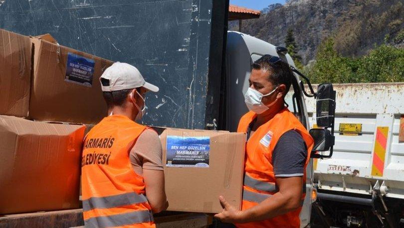 Marmaris'e yangın nedeniyle gelen yardımların bir kısmı, selin etkilediği Sinop ve Kastamonu'ya gönderildi