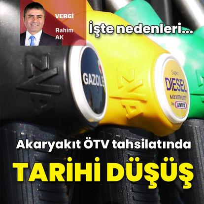 Akaryakıttan alınan ÖTV'de tarihi düşüş