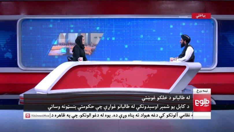 SON DAKİKA: Taliban basın sorumlusu Afgan kadın sunucunun programında soruları yanıtladı