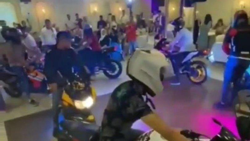 Davetliler şaşkına döndü: Damada düğünde motosikletli sürpriz!