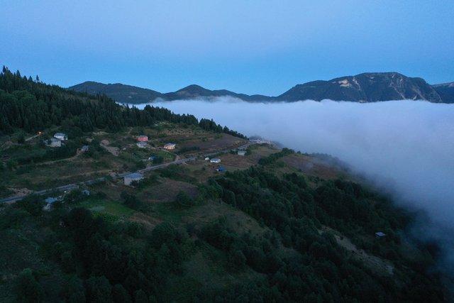 Sisle kaplanan Yaralıgöz Dağı havadan görüntülendi