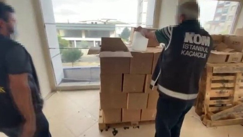 Büyükçekmece'de kargo firmasının deposuna sahte alkol baskını