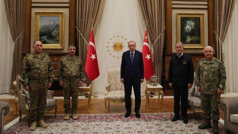 Cumhurbaşkanı Erdoğan, Azerbaycan Savunma Bakanı ve Genelkurmay Başkanı'nı kabul etti