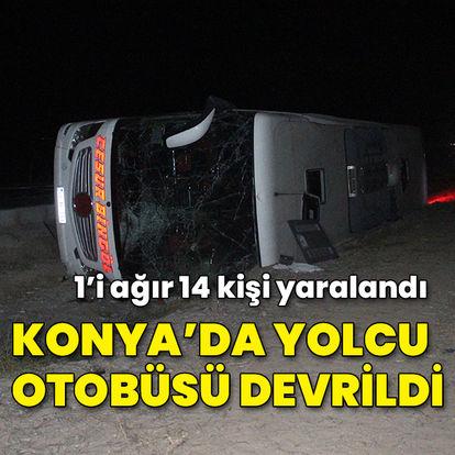 Konya'da yolcu otobüsü refüje devrildi: 14 yaralı