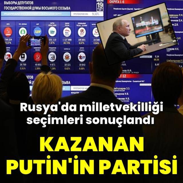 Rusya'da milletvekili seçimlerinde kazanan Putin'in partisi