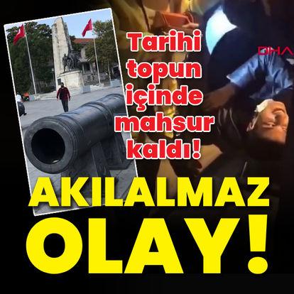 Beşiktaş'taki tarihi topun içinde mahsur kaldı!