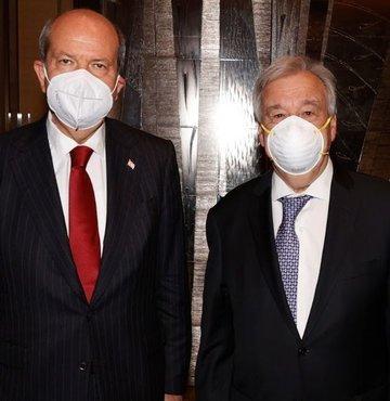 Birleşmiş Milletler (BM) Genel Sekreteri Antonio Guterres, Kuzey Kıbrıs Türk Cumhuriyeti (KKTC) Cumhurbaşkanı Ersin Tatar ile bir araya geldi