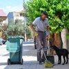 Sokak köpeği temizlik işçisinin yanından bir an olsun ayrılmıyor