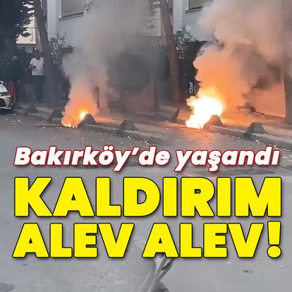 Bakırköy'de yeraltı kabloları alev alev yandı