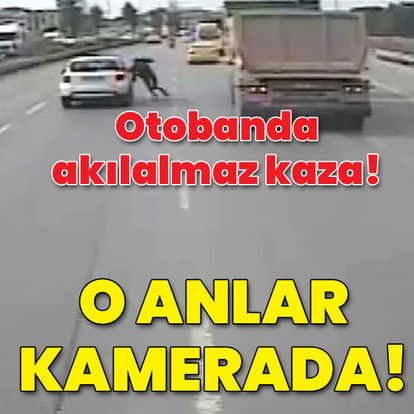 Otobanda inanılmaz kaza! O anlar kamerada!