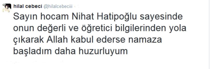 Nihat Hatipoğlu'nun sayesinde namaza başladığını söyleyen Cebeci'nin bu hareketinden sonra seksi klipler çekmeye devam edip etmeyeceği merak konusu. İşte Cebeci'nin o tweeti: