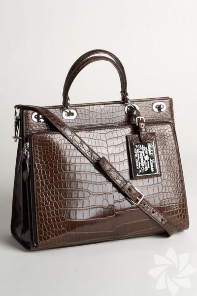 Деловая классическая сумка из кожи крокодила.