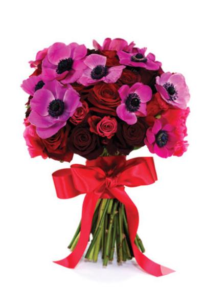 Pembe gelin el çiçekleri