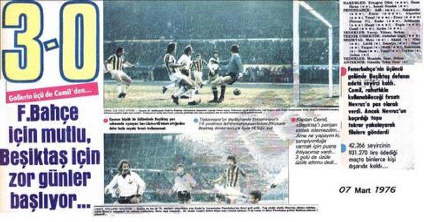 Fenerbahçe ise Beşiktaş'a karşı ligdeki en farklı skorlu galibiyeti 7 Mart 1976'da 3-0'lık sonuçla aldı.