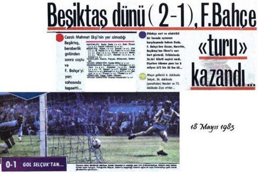 Fenerbahçe Stadı'nda 4 Mayıs 1983 tarihinde yapılan Türkiye Kupası çeyrek final ilk maçı 1-1 berabere sonuçlandı. Ancak Beşiktaşlı Mehmet Ekşi'nin çift sarı karta rağmen oynadığının anlaşılması üzerine Fenerbahçe karşılaşmada 3-0 hükmen galip sayıldı. Beşiktaş, rövanş maçını 2-1 kazanmasına rağmen elenmekten kurtulamadı.\n