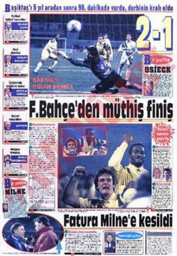"""5-""""Uche'den unutulmaz son dakika golü"""" BJK 1-2 FB (11 Aralık 1993) 5 yıllık özleme son veren, çoğu Fenerliyi sokaklara döken son saniye golüyle kazanılan bir maç… Tıklım tıklım dolu İnönü stadında Sarı-Kanarya 5 sezondur yenemediği Kara Kartal karşısında. 1-1 devam eden maçta son saniyeler oynanırken sahneye çıkan Uche Beşiktaş ağlarını sarsıyor ve teknik direktörü Osieck onu kutlamak için orta sahaya kadar geliyordu."""